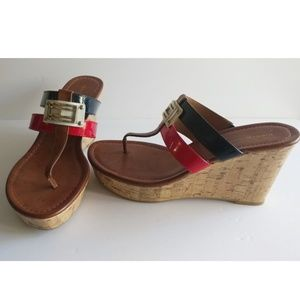 Tommy Hilfiger logo cork wedge Sandals w 2 straps
